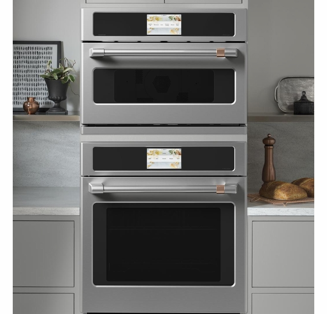csb912p2ns1 cafe 27 five in one single wall oven microwave combo with 20 reheat programs and advantium technology stainless steel brushed stainless