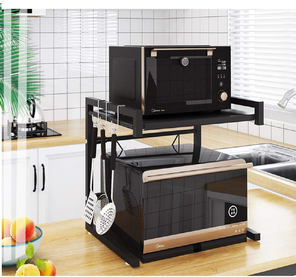metal microwave oven rack toaster stand shelf expandable kitchen supplies tableware storage counter space saver cabinet organizer spice holder with 3