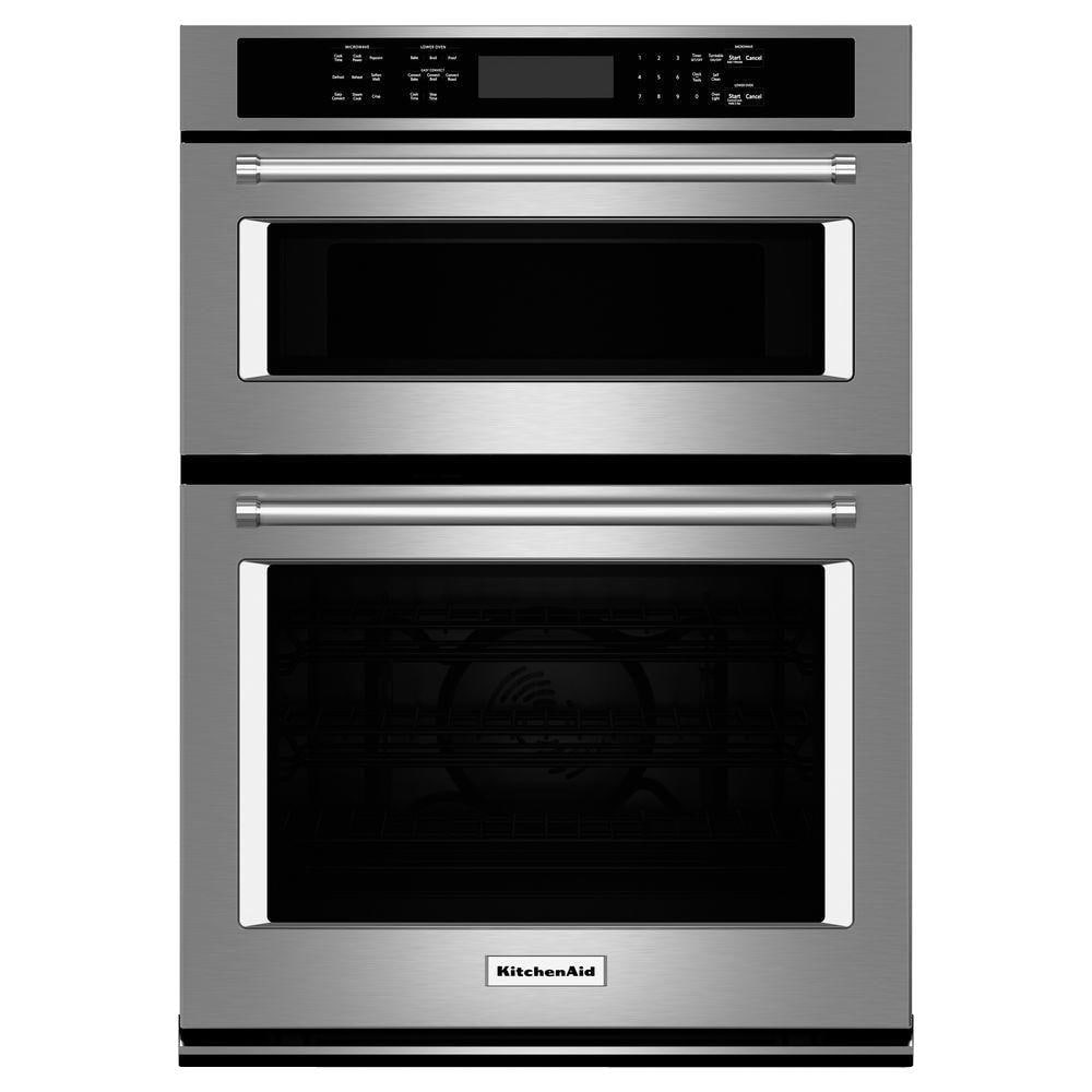 kitchenaid 30 in electric even heat true convection wall oven with built in microwave in stainless steel koce500ess the home depot